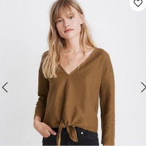 Madewell Texture and Thread Olive Knotted Top
